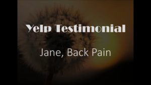 Jane yelp Testimonial for Pain Relief